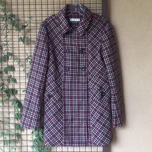 {Romy}Sz Large Wool Blend Plaid Peacoat